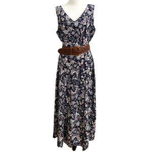 Vtg Danny & Nicole Floral Sleeveless Maxi Dress